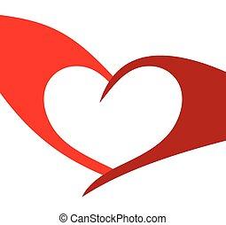 rood, illustratie, hart, vector