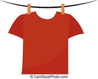 rood, illustratie, witte , vector, achtergrond., hemd