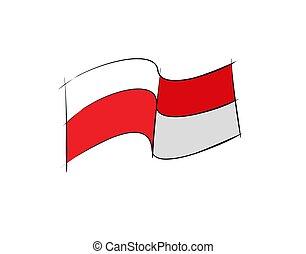 rood, vector, vlag, witte , illustratie, achtergrond