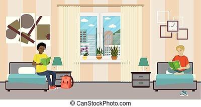room., mannelijke tiener, scholieren, spotprent, slaapzaal
