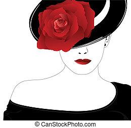 roos, vrouw, hoedje