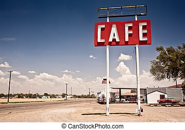 route, meldingsbord, historisch, 66, texas., langs, koffiehuis
