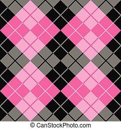 roze, argyle, black