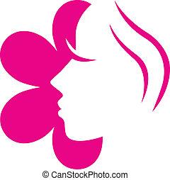 roze bloem, ), (, vrijstaand, gezicht, vrouwlijk, witte , pictogram