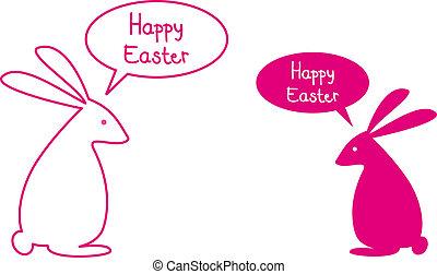 roze, bunnies, pasen, kaart, vrolijke
