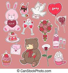 roze, colors., valentijn, stickers, grafiek, dag, s, vector