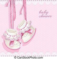 roze, douche, kaart, buit, baby