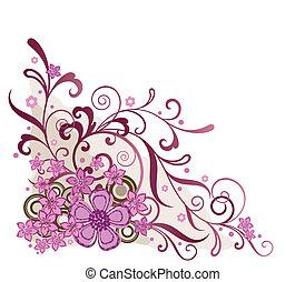 roze, floral, hoek, ontwerpen basis