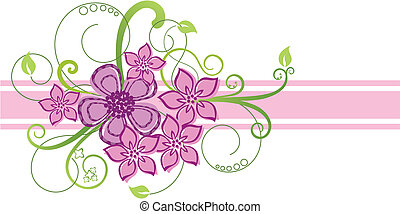 roze, floral rand, ontwerp