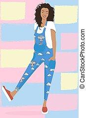 roze, geklede, meisje, jumpsuit, gele, wolken, modieus, vliegtuigen, zwangere , blauwe , clear-colored, achtergrond, mooi, jonge