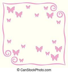 roze, gezegde, plein, schets, inscriptie, eenvoudig, frame, ruimte, krullen, vrijstaand, voorwerp, pagina, postkaart, vlinder, vector, illustratie, achtergrond, leeg, kleine, witte , schaduw