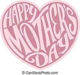 roze, hart, dag, moeders