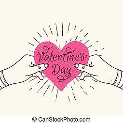 roze, hart, handen