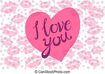 roze, hart, liefde, lippen, vector, kus, u, rood