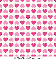 roze, hart, pattern., seamless, vorm, kleuren, vector, witte