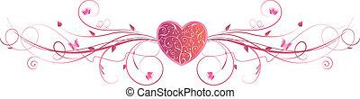 roze, hart, swirls, floral, valentine