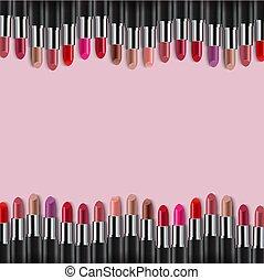 roze, randjes, kleurrijke, lipsticks, achtergrond