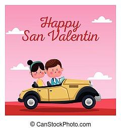 roze, san, klassieke auto, valentine kaart, landscape, vrolijke