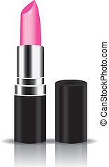 roze, vector, lippenstift
