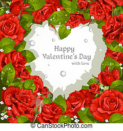 rozen, rood, dag, kaart, valentine