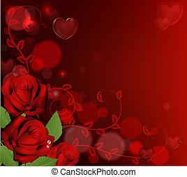 rozen, valentines dag, achtergrond, rood