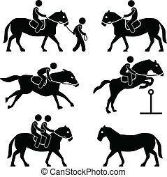 ruiter, paardrijden, jockey, paarde