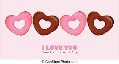 s, hart, valentijn, donuts, dag, gevormd, vrolijke
