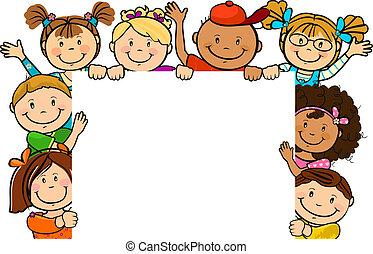 samen, plein, kinderen, blad