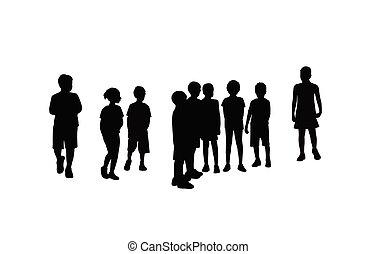 samen, vector, silhouette, kinderen