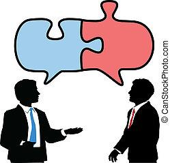 samenwerken, zakenlui, raadsel, verbinden, praatje