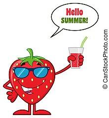 sap, zonnebrillen, aardbei, karakter, op, glas, fruit, vasthouden, het glimlachen, spotprent, mascotte