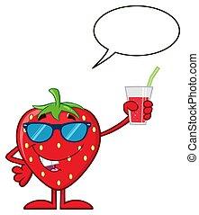 sap, zonnebrillen, aardbei, karakter, op, glas, fruit, vasthouden, spotprent, mascotte