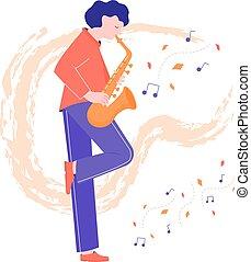 saxofone, musicus, schattig, toneelstukken