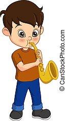 saxofone, schattig, weinig; niet zo(veel), spelend, jongen