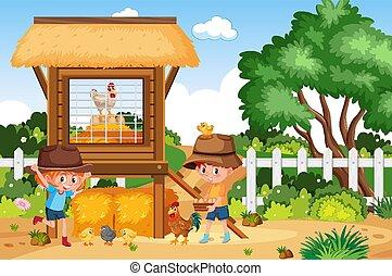 scène, jongen, boerderij, werkende , meisje