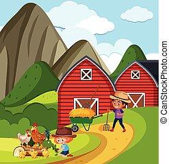 scène, werkende , boerderij, meisje, jongen