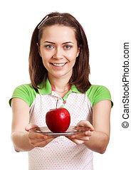 schaaltje, vrouw, appel, geven, jonge, vrijstaand, het glimlachen, rood, vrolijke