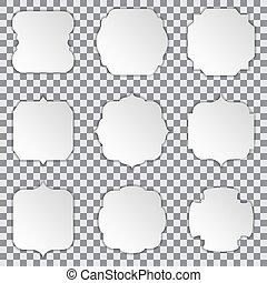 schaduw, papier, achtergrond, lijstjes, witte , stickers, transparant
