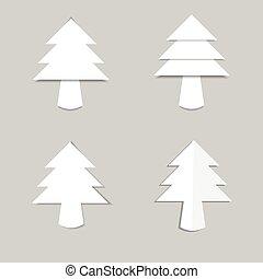 schaduw, papier, boompje, witte kerst