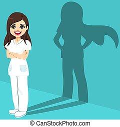 schaduw, vrouwlijk, verpleegkundige, held