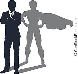 schaduw, zakenman, superhero