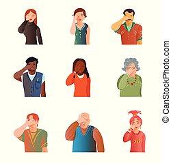 schattig, anders, set, mensen, facepalm, stress, toestand
