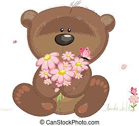 schattig, bloemen, beer