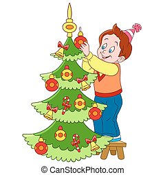 schattig, boompje, spotprent, kerstmis, jongen