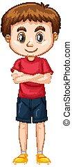 schattig, hemd, rood, jongen, witte , kniebroek, achtergrond