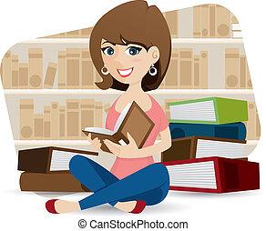 schattig, het boek van de bibliotheek, girl lezen, spotprent