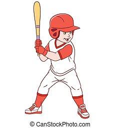 schattig, honkbal, spotprent, speler