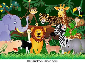 schattig, jungle, dier, spotprent