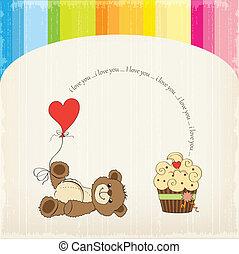 schattig, liefde, kaart, beer, teddy