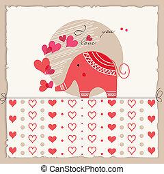 schattig, liefde, valentine, kaart, elefant, dag